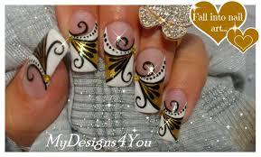 gold nail art tutorial design for long diva nails золотой