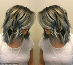 highlights for grey hair pictures denim hair is the latest trend as women dye their hair purple