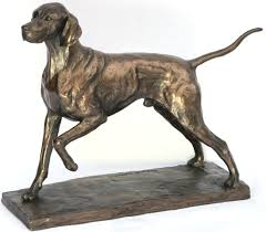 shorthaired pointer resin bronze resin sculpture