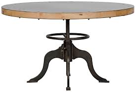 wood and metal round dining table 49 round dining table adjustable height crank industrial metal base