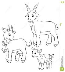 coloring pages farm animals goat family stock vector image