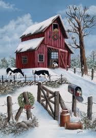 country winter christmas barn cows snow farm sm flag