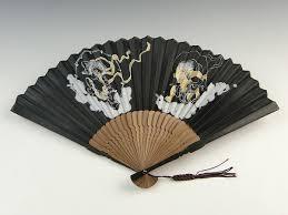 japanese folding fan japanese traditional men s folding fan fujin raijin god black