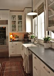 White Kitchen Cabinets And Black Countertops by White Dove Cabinets With Soapstone Counters Kitchens