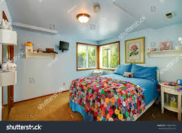 Old Fashioned White Bedroom Furniture Simple Light Blue Young Room Stock Photo 176854736