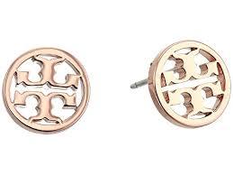 s earrings burch logo circle stud earrings at zappos