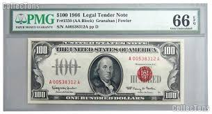 one hundred dollar bill seal tender note 100 in pmg gem