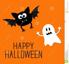 cute cartoon bat and ghost happy halloween card flat design