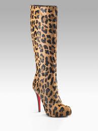 christian louboutin alta ariella talon leopard boots in black lyst