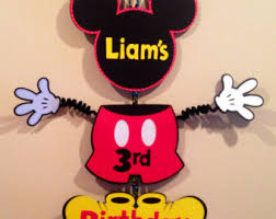 mickey mouse door sign birthday wiggle arm