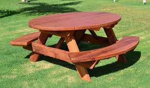 Round Redwood Picnic Table by Oval Picnic Table Custom Oval Shaped Wood Picnic Table