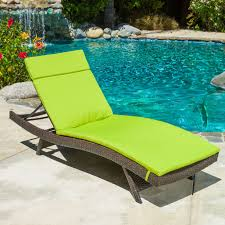 Modern Patio Lounge Chair Furniture Brown Barid With Green Cushion Outdoor Chaise Lounge