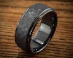 comfort fit titanium mens wedding bands men s wedding band comfort fit interior hammered black