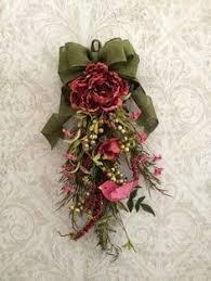 wreath summer wreath teardrop vertical door swag decor pink