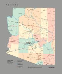 Map Of Chandler Az Tackamap Arizona State Wall Map Cut Out Style From Onlyglobes Com