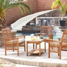 Acacia Wood Outdoor Furniture Durability by Walker Edison 4 Piece Acacia Wood Conversation Set With Cushions
