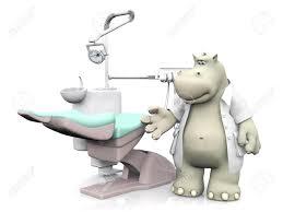 Hippo Chair A Smiling Cartoon Hippo Dressed As Dentist Showing A Dental Chair