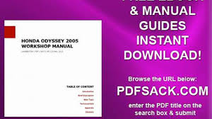 2005 honda odyssey service manual pdf honda odyssey 2005 workshop manual dailymotion