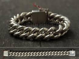 silver chain bracelet men images Heavy silver chain bracelet male handmade jewelry custom length jpg