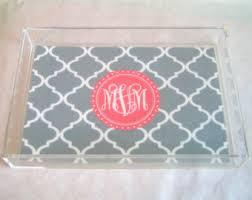 monogrammed trays custom acrylic tray etsy