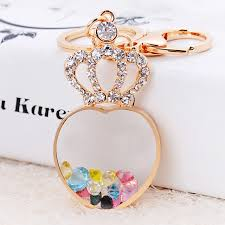 fashion key rings images Fashion rhinestone floating heart key ring crystal princess crown jpg