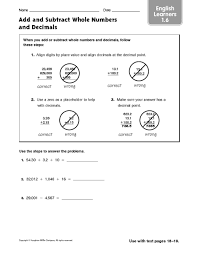free worksheets adding whole numbers and decimals worksheet