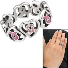 ribbon ring pink ribbon hearts stainless steel ring the breast cancer site