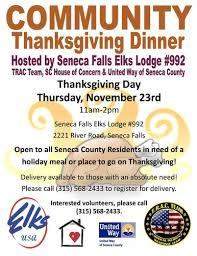 community thanksgiving dinner finger lakes seneca county