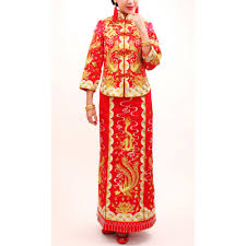 Chinese Wedding Dress Red Chinese Wedding Dress Kwa Qun Bridal Gold Silver Embroidery Gown