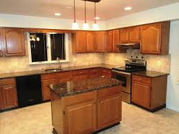 Black Granite Kitchen by Oak Cabinets With Black Appliances Kitchen Color Ideas With Oak