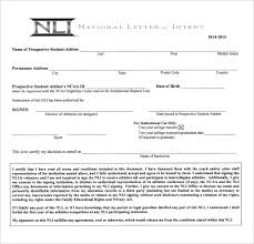 College National Letter Of Intent National Letter Of Intent 10 Free Word Pdf Format