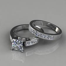 weding ring princess cut engagement ring and wedding band bridal set