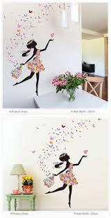Dance Wall Murals Kids Room Decoration Diy Wall Stickers Butterfly Flowers Fairy