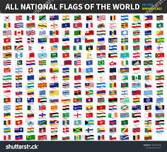 World National Flags With Names All Official National Flags World Waving Stock Vector 1008570289