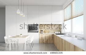 modern white kitchen interior appliances huge stock illustration
