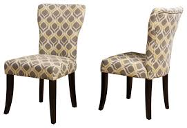 kalee light and navy blue print fabric dining chair set of 2