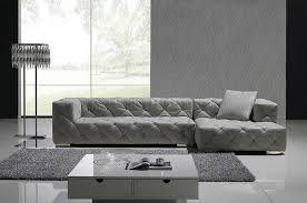 Modern Sofa With Chaise Grey Italian Leather Modern Sectional Sofa W Crystals