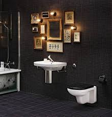 black mosaic tile bathroom walls with framed wall arts bathroom