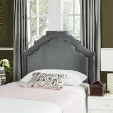alexia grey headboard silver nail head headboards furniture by created for the modern princess this contemporary headboard is a chic focal point for the polished boudoir refined curves define its lush upholstery with