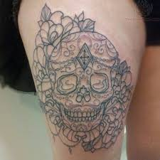 sugar skull with flowers thigh tattoos in 2017 real photo