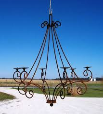 Outdoor Votive Candle Chandelier by Wrought Iron Teardrop Real Candle Chandelier