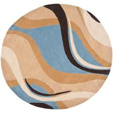 safavieh modern art blue brown 7 ft x 7 ft round area rug