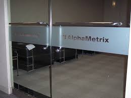 frosted glass vinyl graphics privacy film impact signs