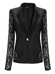 NEW Fashion y Sheer Lace Patchwork Blazer Coat Lady Suit Outwear