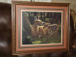 home interior deer picture vintage home interiors gifts doe fawn deer print framed signed