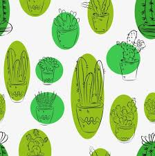 cactus background various types sketch handdrawn repeating style
