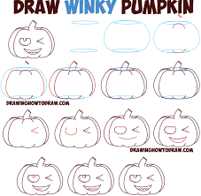 how to draw cartoon pumpkin jack o u0027lantern winking winky eye