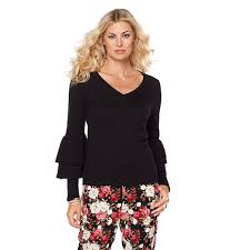 sweater with wendy williams v neck sweater with ruffle sleeve 8441534 hsn