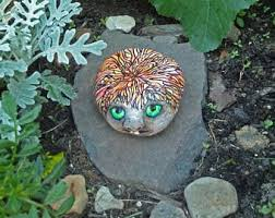 hand painted ladybug stone rock art garden stone yard