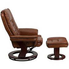com flash furniture contemporary brown vintage leather recliner and ottoman with swiveling gany wood base kitchen dining